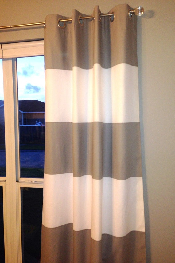 custom horizontal wide striped curtain panels lined rod