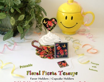 1/2 OFF COUPON Floral Tea Cups Printable, 3D Birthday Card & Cake in ONE! Teacup Cupcake Wrapper w/Doily, Tea Party Printable Cupcake Wraps