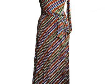Vintage 1970s Joy Stevens California Column Maxi Dress, One Shoulder Mod Hippie Chic Boho Festival Wear