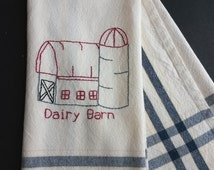 Barn tea towel, hand embroidered barn, dairy barn kitchen towel, country decor, country kitchen decor, hand embroidery, farm life