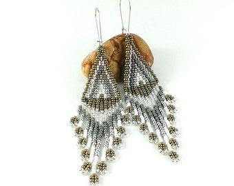 Beaded earrings Silver earrings Indian style Boho earrings Beads earring silver Seed bead Ash Gray Earrings Gray earrings Grey earrings