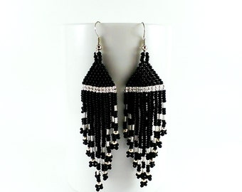 Long black earrings Black jewelry Silver earrings Matte earrings Gypsy earrings Bohemian earrings Boho earrings Evening earrings beaded