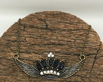 Jeweled Crown with Wings Pendant Necklace