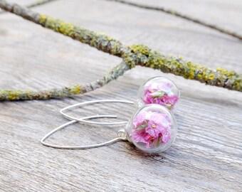 Sterling silver earrings, bride gift, botanical jewelry, bridal gift, real flowers earrings, glass  earrings, wedding gift