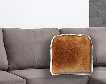 Toast Printed Pillow - Toast Lover Gift, Medium Toast Print, Linen Throw pillow, Food Home Decor