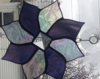 Stained glass suncatcher, purple, clear iridescent, bevel in middle