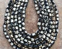 """African Batique Bone Bead ,50 Kenyan Batique Bone Beads,50 African Bone Beads,African Beads,Full String (25"""") Cow Bone Beads,Batique Beads"""