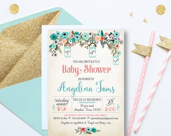 flora baby girl Baby Shower Invite, summer baby shower invitations, Watercolor Flowers baby girl shower invitation, free thank you card, FL