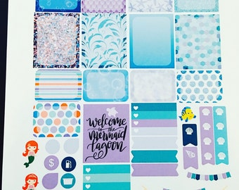 Mermaid Lagoon Weekly Planner Stickers Set, for use with Erin Condren Life Planner, Happy Planner