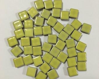 3/8'' Yellow Mini Ceramic Mosaic Tile, Yellow Mosaic Tile, Mini Ceramic Mosaic Tile