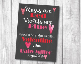 Custom Baby Pregnancy Announcement for Valentine's Day. Watercolor Hearts Roses are Red Violets are Blue 5x7  8x10 or 11x14