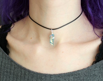 Aqua aura crystal choker necklace, wire wrapped pendant, raw crystal necklace natural stone, pastel grunge jewelry, gemstone choker, mermaid