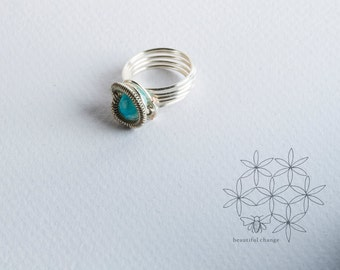 Wire Wrapped Ring ⊿  Blue Ring ⊿  Any Size