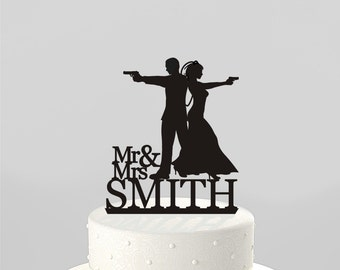 Wedding Cake Topper Silhouette Couple Mr & Mrs 'Smith' type, Personalized with Last Name, Acrylic Cake Topper [CT71]