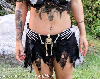 Metalocalypse Voodoo Skirt - Skulls, Bones, Mesh, Skull , Skeleton,Gothic , Mini , Halloween, Macabre, Belt, apocalyptic, apocalypse,mad max