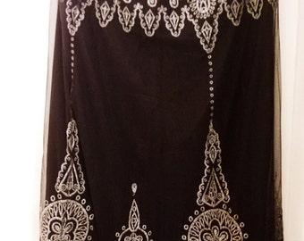 Gorgeous Long Lace Skirt with Silver Embroidery  by Calypso- Vintage