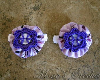 Hand Crocheted Purple Button Flower And Fabric YoYo Hair Barrette | Crochet Hair Clip | Crochet Hair Barrette - Set of 2