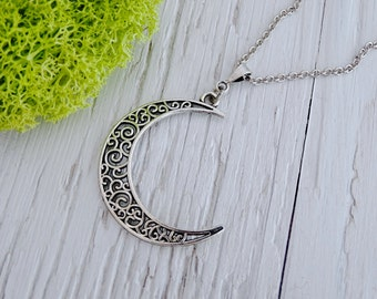 Silver Crescent Moon Necklace, crescent moon, moon necklace, silver moon