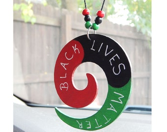 Black Lives Matters Car Charm Black Pride RBG Red Black Green Wooden Rear View Mirror BLM Accessories Large