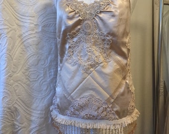 20 s top with pearls, silk top 20 s,French antique lace top, 20 s style top,decorated w. pearls,top golden ,rawrags,slip dress top,pearl top