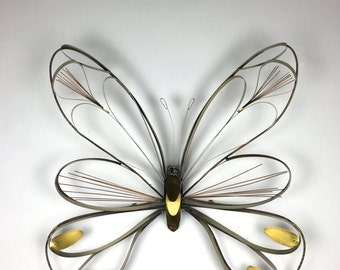 Large Vintage Curtis Jere Brass Butterfly Wall Sculpture Hanging Mid Century Modern