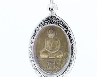 Thai amulet pendant PhraAjan Boonna the first generation, Wat Pasottipon,THAI Famous monk Buddhism amulet pendent.