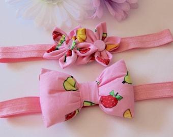 Pink Headband, Pink Baby Headband, Fruit Headband, Pink Bow Headband, Bow Headband, Flower Headband, Strawberry Headband, Girls Headbands