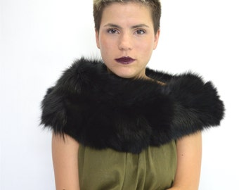 Real fur collar, fox collar, black fox fur collar. Genuine fur pelt. Fur neck warmer. Fox fur shawl, black fox fur pelt, fox fur scarf.