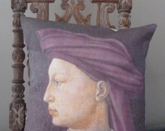 Vintage medieval portrait of a man on a linen pillow cover.
