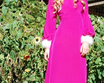 Vintage 60s Dress, Marabou puff Feather Long Sleeve Maxi Dress, Pink Evening Gown, 60s Mod Dress, 1960s Marabou Feather Dress, XS S