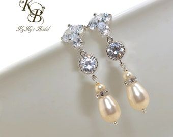 Pearl and Crystal Earrings, Long Dangle Earrings, Bridal Earrings, Wedding Jewelry, CZ Earrings, Cubic Zirconia, Swarovski Pearls