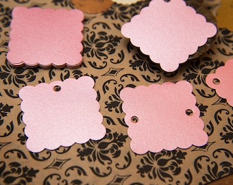 """50 Blush Pink Pearlised 1.5"""" Square Luxury Gift Tags, Blank Tags, Wishing Tree Tag, Wedding favour tags, Jewelry Tag, wedding favor 1.5 inch"""
