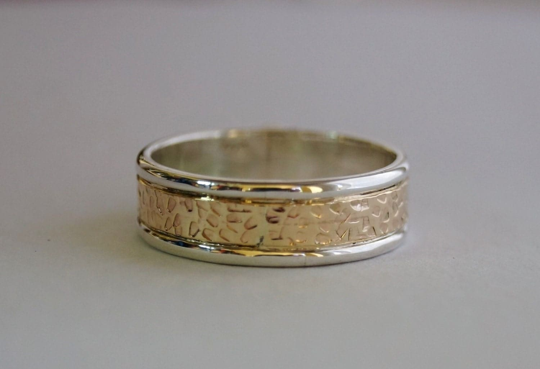 14K Gold And Silver Banded Mens Wedding Ring Mens