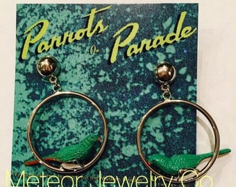 Retro Novelty Parrot Bird Hoop Earrings, Parrots on Parade, Valentines Day Gift
