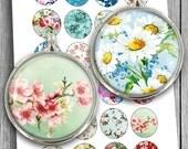 "Spring Flowers Printables 20mm 25mm 1.5"" 1"" 30mm Floral Images for Cabochons Bottle caps Pendants Digital Collage Sheet Instant Downloa"