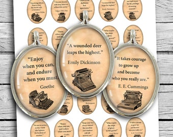 Literature Quotes Oval Digital Cabochon 30x40 22x30 Digital Collage Sheet Instant Download