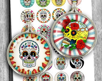 "Sugar Skulls Printable Download 1.5"" 30mm 25mm 1""  Circle Images for Cabochons, Pendants Digital Collage Sheet Instant Download"