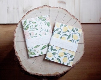 Set of 2 Mini Notebook LEMONS & ROSES