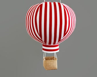 Hot Air Balloon Decor - Travel Baby Shower Decorations - Red Stripe