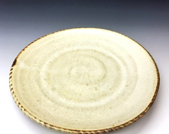 Salt Fired High-Iron Stoneware Dinner Plate - White Glaze, 0432002