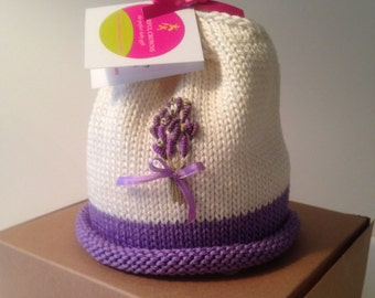 Lavender Newborn Cotton Baby Hat, Knitted, Hand Embroidered, Hand Knit, Purple / Lilac, Best Baby Gift Colorful Crowns