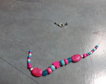 Pink, Blue, and White Beaded String Necklace 22""