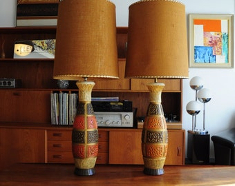 "Large Mid Century Table Lamps/ Burlap shades/ Chalkware-Plaster body/ 42"" tall!/ brutalist pattern"