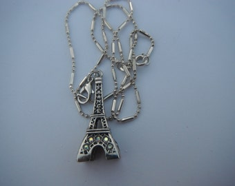 3-D Eifel Tower Charm/Pendant Necklace with Crystals support Paris