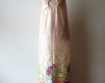 1970s pale pink slip dress + Vintage floral babydoll