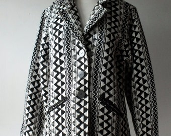 Vintage geometric print blazer + black and white jacket