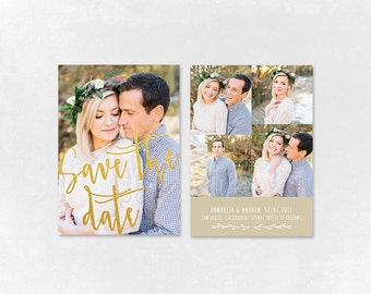 Save the Date Template for Photographers, Gold Save the Date Card Announcement, Engagement Photography - Photoshop Templates - SD012