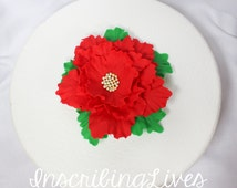 fondant flowers, XL edible poinsettia inspired cupcake toppers for wedding topper decorations red wedding Christmas holiday