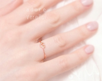 Petite Rosegold Infinity Knot Ring