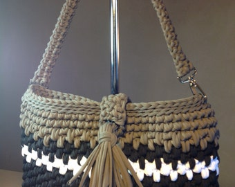 Bag worn shoulder taupe, black and white - shopping